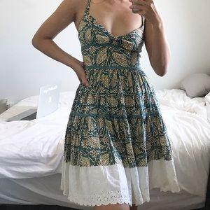 FREE PEOPLE Antropologie Printed Green Dress